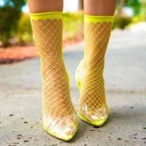 Fishnet Slingback Heels in Neon Yellow